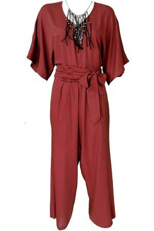Women Necklaces - Women's Artisanal Red Leather Brick Viscose Jumpsuit With Necklace Medium Lalipop Design