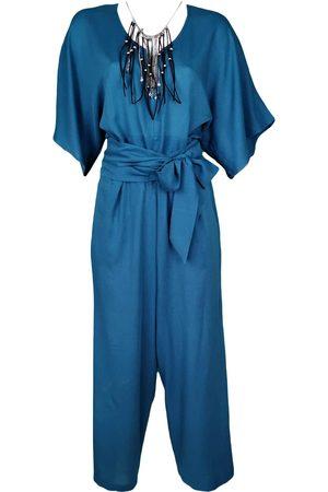 Women Necklaces - Women's Artisanal Blue Leather Viscose Jumpsuit With Necklace Small Lalipop Design