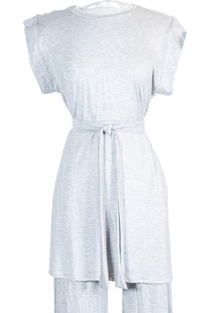 Women Sweats - Women's Artisanal Grey Fabric Heather Tunic Lounge Top With Tie Large Jennafer Grace