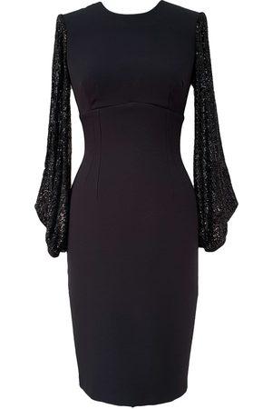 Women's Black Crepe Galaxy Dress Rain Sequins Large Mellaris