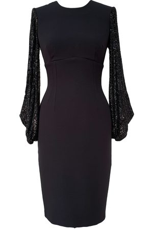 Women's Black Crepe Galaxy Dress Rain Sequins XS Mellaris
