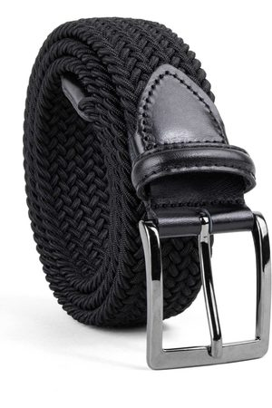 Men Belts - Men's Carbon Neutral Black Brass Braided Viscose Belt Bruno 44in Dalgado