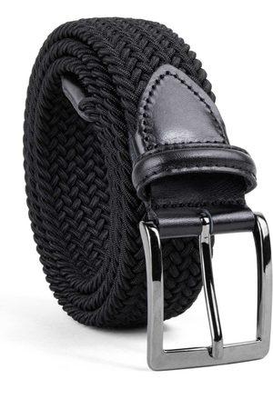 Men's Carbon Neutral Black Brass Braided Viscose Belt Bruno 34in Dalgado