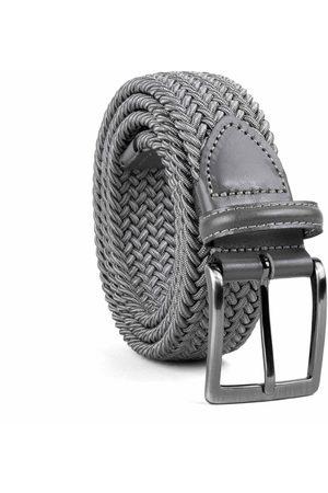 Men Belts - Men's Carbon Neutral Grey Brass Braided Viscose Belt Mauro 44in Dalgado