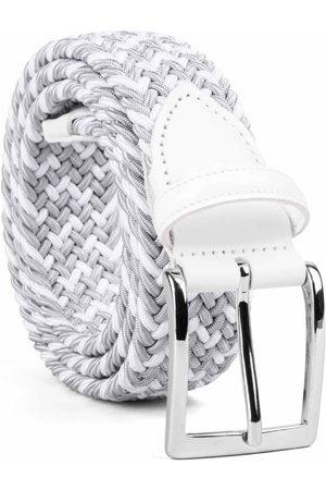 Men Belts - Men's Carbon Neutral Grey Brass Braided Viscose Belt /white Marcello 42in Dalgado