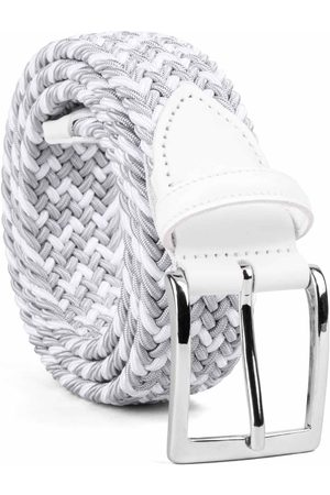 Men's Carbon Neutral Grey Brass Braided Viscose Belt /white Marcello 36in Dalgado