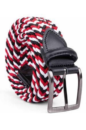 Men Belts - Men's Carbon Neutral Black Brass Braided Viscose Belt Red//white Luigi 34in Dalgado