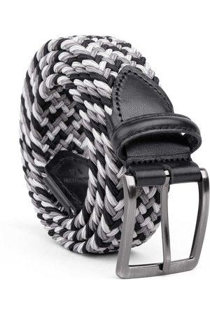 Men's Carbon Neutral Black Brass Braided Viscose Belt Grey//white Pietro 38in Dalgado