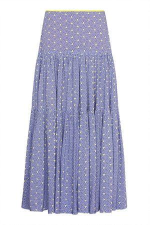 Women Printed Skirts - Women's Blue Emma Skirt Stripey Triangle Print XL Libelula