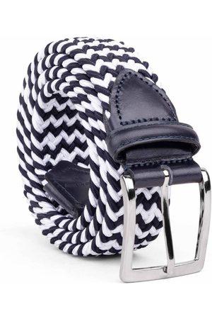 Men's Carbon Neutral Blue Brass Braided Viscose Belt /white Diego 34in Dalgado