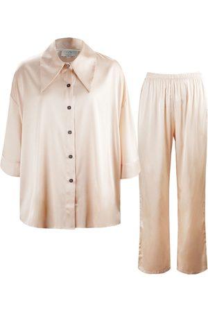 Women's Artisanal Rose Silk 21 Pajama Set Medium NOT JUST PAJAMA