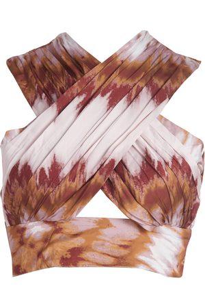 Women Wrap tops - Women's Artisanal Brown Irina Wrap Top - Tye Dye XS Vasiliki Atelier