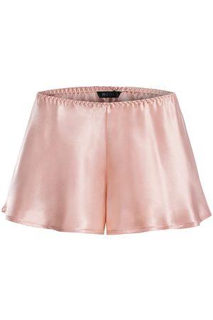 Women Pajamas - Women's Artisanal Pink Silk Satin Shorts Medium MOYE