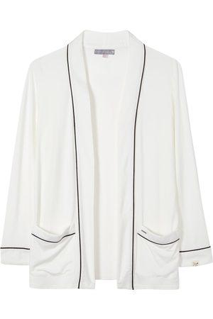Women Pajamas - Women's Low-Impact White Bamboo Nightwear Jacket Large Pretty You London