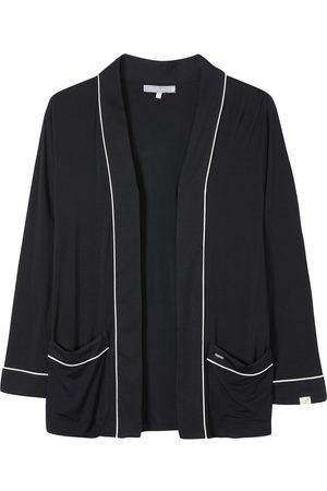 Women Pajamas - Women's Low-Impact Black Bamboo Nightwear Jacket In Medium Pretty You London