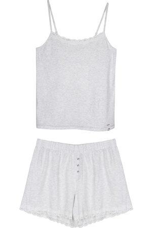 Women Sweats - Women's Low-Impact Grey Cotton Organic Cami Short Set XL Pretty You London