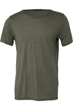 Men Short sleeves - Men's Green Cotton Raw Neck Short Sleeve - Military XS Ocean Rebel
