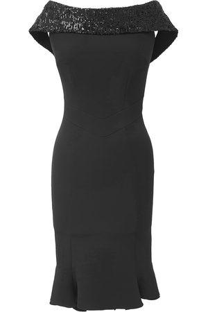 Women's Black Crepe Sweet Pea Dress Rain Sequins Large Mellaris