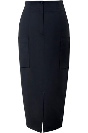 Women Pencil Skirts - Women's Low-Impact Black Wool Leah Pencil Skirt With Patch Pockets XS DIANA ARNO