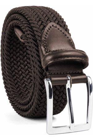 Men Belts - Men's Carbon Neutral Brown Brass Braided Viscose Belt - Domenico 42in Dalgado