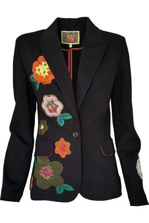 Women Leather Jackets - Women's Artisanal Black Leather Unlined Blazer Jacket With Flower Applique Details Medium Lalipop Design
