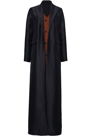 Women Leather Jackets - Women's Black Suede Button Coat Large Serrb