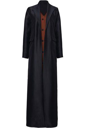 Women Leather Jackets - Women's Black Suede Button Coat Medium Serrb