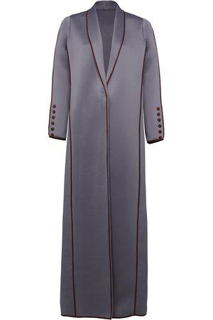 Women Leather Jackets - Women's Grey Neoprene Coat With Suede Piping Medium Serrb