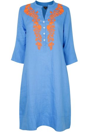 Women Tunic Dresses - Women's Artisanal Blue Cotton Victoria Embroidered Tunic Dress With Satsuma Large NoLoGo-chic