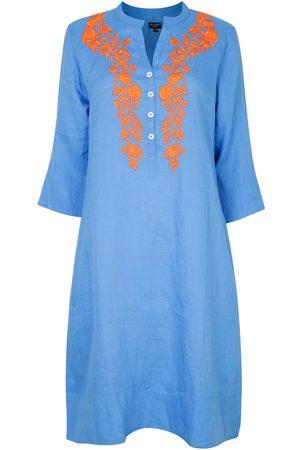 Women Tunic Dresses - Women's Artisanal Blue Cotton Victoria Embroidered Tunic Dress With Satsuma Medium NoLoGo-chic