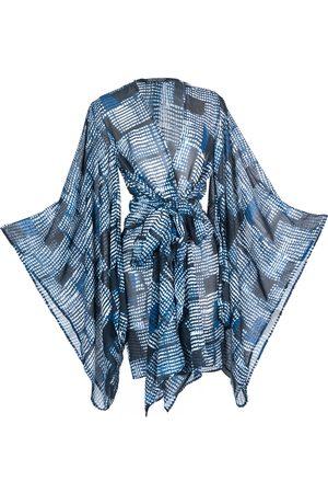 Women's Artisanal Blue Bloc Party Blu Kimono Blu Large Jennafer Grace