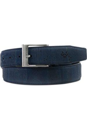 Men's Cruelty Free Blue Leather Cork Belt In Medium Watson & Wolfe