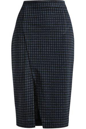 Women Pencil Skirts - Women's Artisanal Blue Fabric Check Pencil Skirt XL Conquista