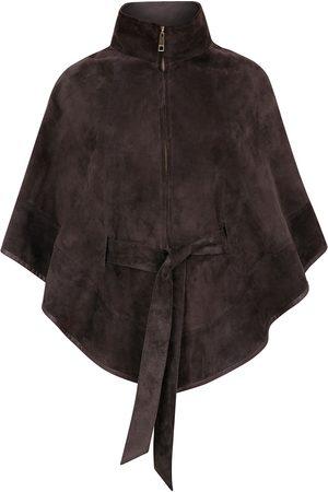 Women Leather Jackets - Women's Artisanal Grey Leather Suede Cape With Belt - Dark Medium ZUT London