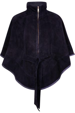 Women's Artisanal Navy Leather Suede Cape With Belt Small ZUT London