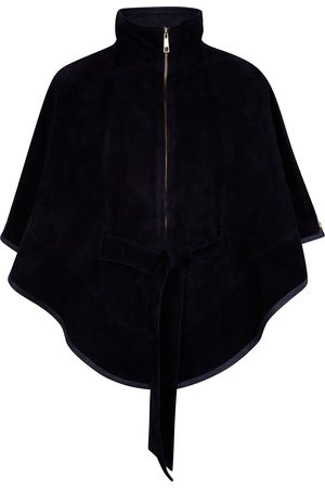 Women Leather Jackets - Women's Artisanal Black Leather Suede Cape With Belt Medium ZUT London