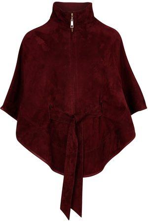 Women Leather Jackets - Women's Artisanal Red Leather Suede Cape With Belt - Wine Medium ZUT London
