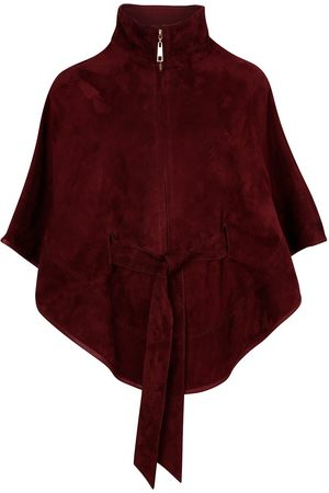 Women Leather Jackets - Women's Artisanal Red Leather Suede Cape With Belt - Wine Small ZUT London