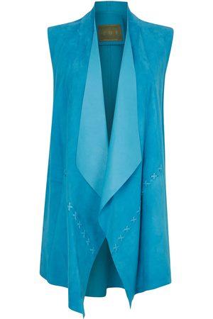Women's Artisanal Turquoise Leather Suede Sleeveless Jacket ZUT London