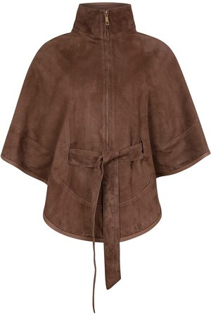 Women Leather Jackets - Women's Artisanal Taupe Leather Suede Cape With Belt Medium ZUT London
