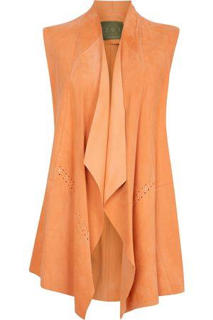 Women's Artisanal Orange Leather Suede Sleeveless Jacket -Soft ZUT London