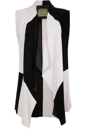 Women Leather Jackets - Women's Artisanal Black Leather Suede Sleeveless Jacket - & White Patchwork ZUT London