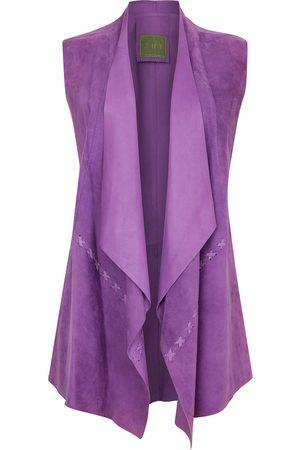 Women Leather Jackets - Women's Artisanal Purple Leather Suede Sleeveless Jacket - Lilac ZUT London