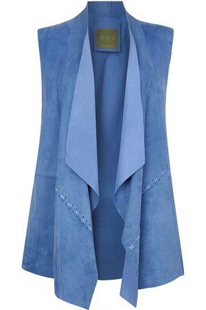 Women's Artisanal Blue Leather Suede Sleeveless Jacket - Sky ZUT London