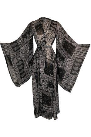 Women Kimonos - Women's Artisanal Black Lucia Scarf Kimono Large Jennafer Grace