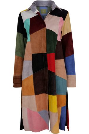 Women Leather Jackets - Women's Artisanal Leather Suede colour 2 Patchwork Coat & Dress Medium ZUT London