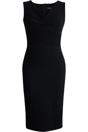 Women Sleeveless Dresses - Women's Artisanal Black Sleeveless Front Tucks Dress Medium L'MOMO