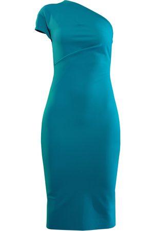 Women's Artisanal Blue Capped Sleeve Pencil Dress Large L'MOMO