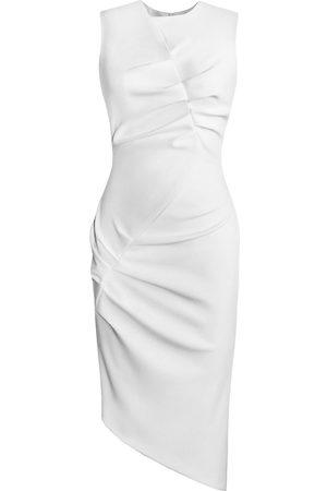 Women Asymmetrical Dresses - Women's Artisanal White Asymmetrical Front Tuck Dress Large L'MOMO