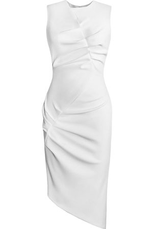 Women Asymmetrical Dresses - Women's Artisanal White Asymmetrical Front Tuck Dress Medium L'MOMO